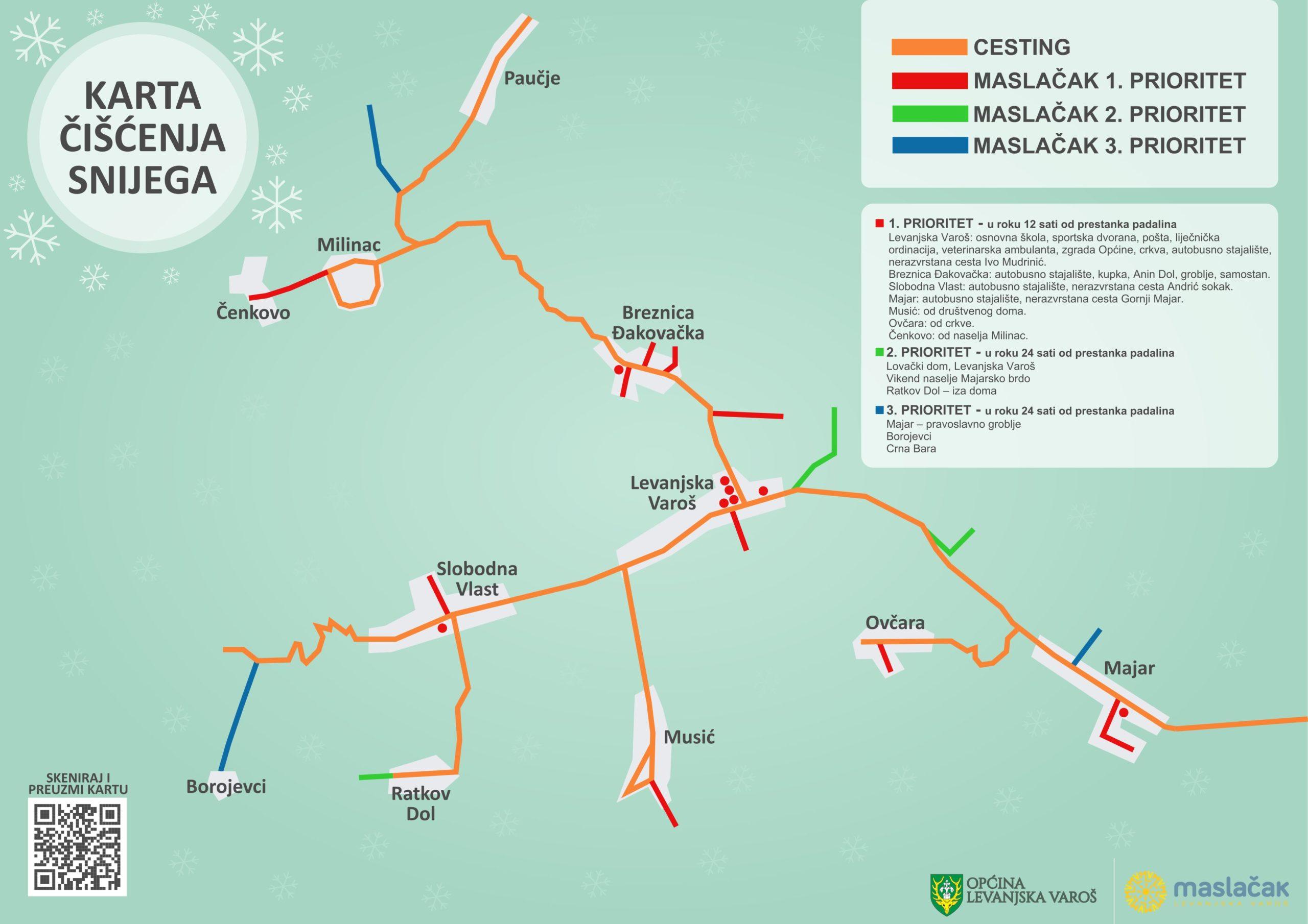 Karta čišćenja snijega - Općina Levanjska Varoš jpg